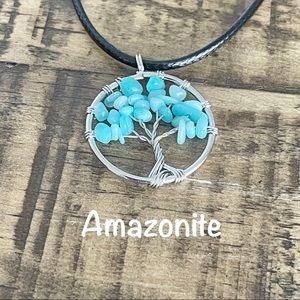 35mm Amazonite Wire Wrapped Pendant Necklace